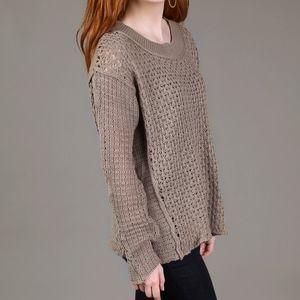 Altar'd State Angela Sweater Open Knit in Mocha L